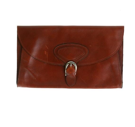 1970s Clutch Purse Bag / Cognac Brown Leather