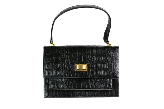 1960s Crocodile Leather Box Bag Satchel / Black