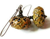Golden Caramel Patina Copper Filigree Rondelle Bohemian Style Dangle Earrings