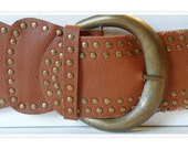 Womens Steampunk Wide Scalloped Vegan Studded Belt - Size Small S - Nearly 4 inches wide