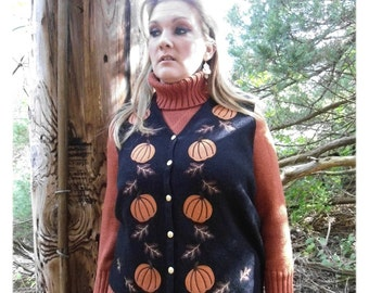 Vintage PUMPKIN Vest - Black Orange -  V Neck Cardigan Womens Size L Croft and Barrows Oak Leaves -