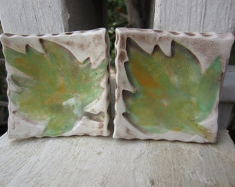 Two Green Leaf Small Ceramic Dishes Ring Holders Spoon Rests Tea Lights Tea Bag Holders