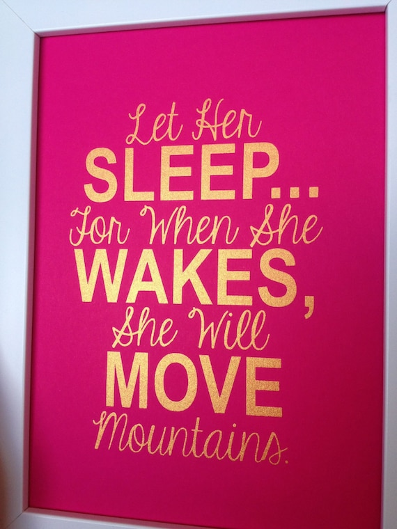 Diy nursery quotes : Gold nursery quote print let her sleep... for when she wakes, will ...