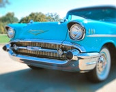 1957 Bel-AirTurquoise Blue with Chrome Headlights. Vintage Retro Look. Signed Fine Art Photography