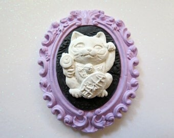Lucky Cat Cameo Brooch(lavender)