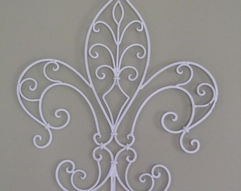 Iron Wall Decor, Cottage Chic Wall Hanging, Iron Fleur De Lis, White Fleur De Lis, Apartment Wall Decor, Iron Decor