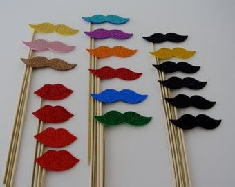 Mustache on a stick Photo Booth Party Prop 19 PC  Weddings Birthdays