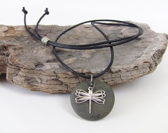 DRAGONFLY - Dragonfly Necklace - Dragonfly Charm - Sterling Silver Dragonfly Charm - Beach Stone Necklace - Beach Stone Jewelry