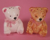 Teddy Bear's Picnic Salt and Pepper Shakers , Pink Bows , Tea Party Table