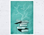 "Books Print - Teal - Inspirational Books Tree Drawing, Back to School, Illustration Poster Art Print, Wall Art -  A4  11.7"" x 8.3"""