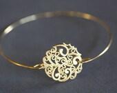 Boho Gold Bangle Bracelet,Paisley Round, Filigree , wire bangle, gold bracelet, minimalist jewelry, bridal bracelet, bridesmaids gifts