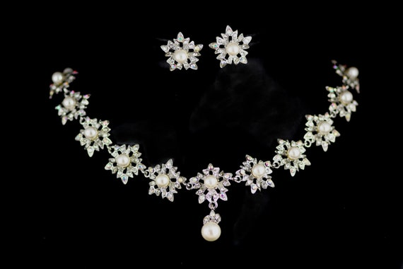 Lotus Romantic Swarovski crystal and pearl bridal necklace and earrings set