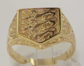Solid 9K Yellow Gold England Three Lions Shield Emblem Ring, Signet Ring, Symbol of England -Made in England-Customizable