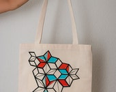 Eco Geometric Print Tote Bag ( Blue, Orange &Black)