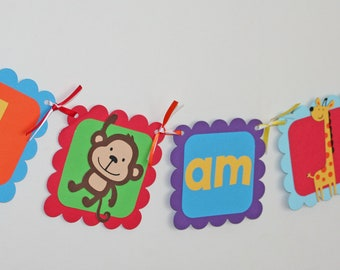 Jungle I am 1 Banner, Circus I am 1 Banner, Circus Birthday, Jungle Birthday, Highchair Banner, Jungle Highchair Banner, First Birthday,