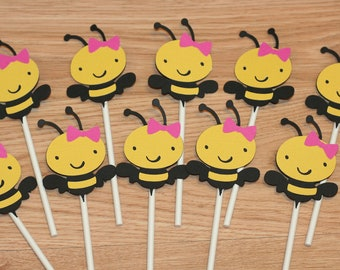 12 Girl Bee Cupcake Toppers, Bumble Bee Cupcake Toppers