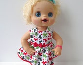 Christmas Doll Clothes - Dog Print Dress For Waldorf Dolls, Bitty Baby, Baby Alive