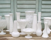 Milk Glass Vase Set  - 15 ALL DIFFERENT - Free Shipping to US - upcyclesisters