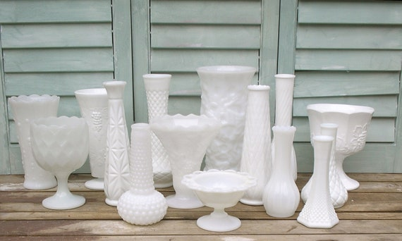 Milk Glass Vase Set  - 15 ALL DIFFERENT - Free Shipping to US