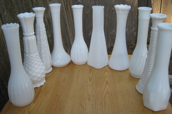 Milk Glass Vase Set - 10 ALL DIFFERENT - Shabby Chic - Wedding, Bridal Shower, Party Decoration - Free Shipping to US