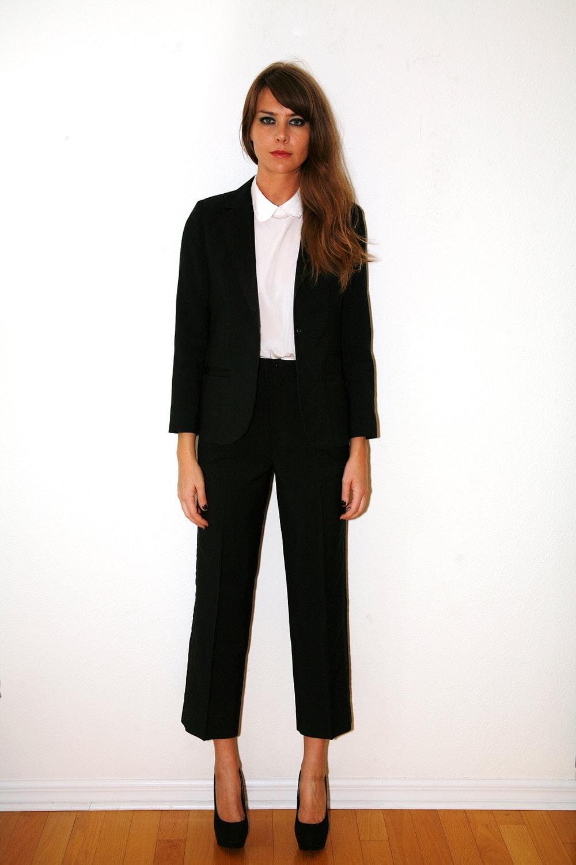 Vintage 70s Women S Tuxedo Suit Black Small By Vintagerebelle
