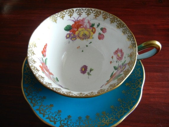 Vintage Royal Albert Teacup and Saucer Set Beautiful Sky Blue with Gold and Delicate Flower Pattern
