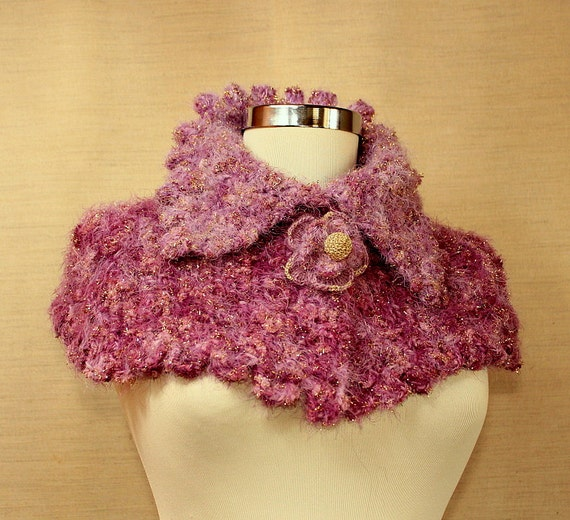 Pink Hand Knit Crochet Cape Capelet Chunky Cowl Cape Neck Wrap Winter Accessories