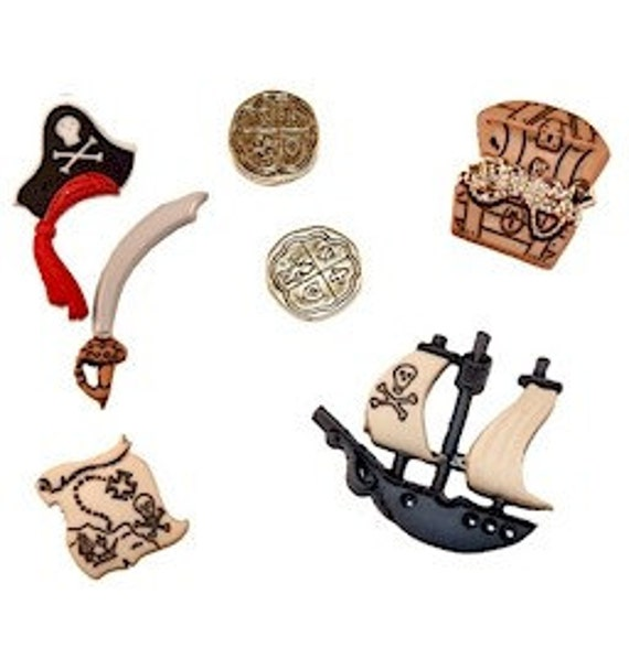 Pirate Ship Treasure Chest Gold Sea Map buttons - 7pcs