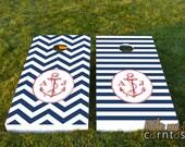 Custom Corntoss / Classy Cornhole / Bag Toss / Wedding Game - Anchors Away - Nautical Chevron/Stripes