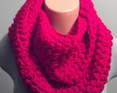 Chunky Cherry Red Colored Infinity Scarf