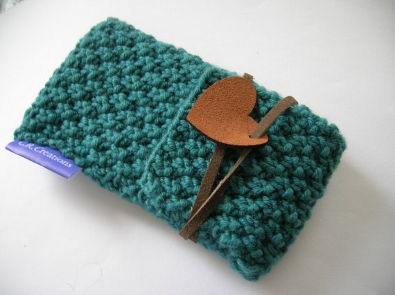 iPhone cozy / hand knitted cell phone case or camera case, turquoise