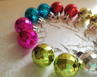 Disco Ball Christmas Dangle Earrings. You Choose. Red. Green. Gold. Silver. Round. Christmas. Gift. Holiday. Festive. Three Dollar Jewelry.