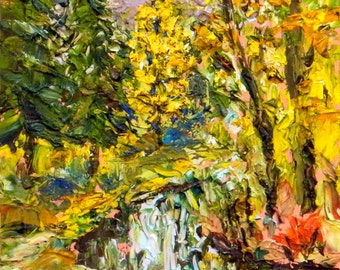 Home Decor Fall Colors - Pallette knife original oil painting