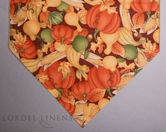 Pumpkins Corn Squash Gourd Fall Large Table Runner