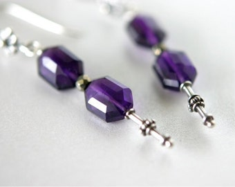 February Birthstone. Gemstone Earrings, African Amethyst Faceted Long Hexagon Beads, Bali Silver Fancy Head Pins and Earwires. Gift. E127.