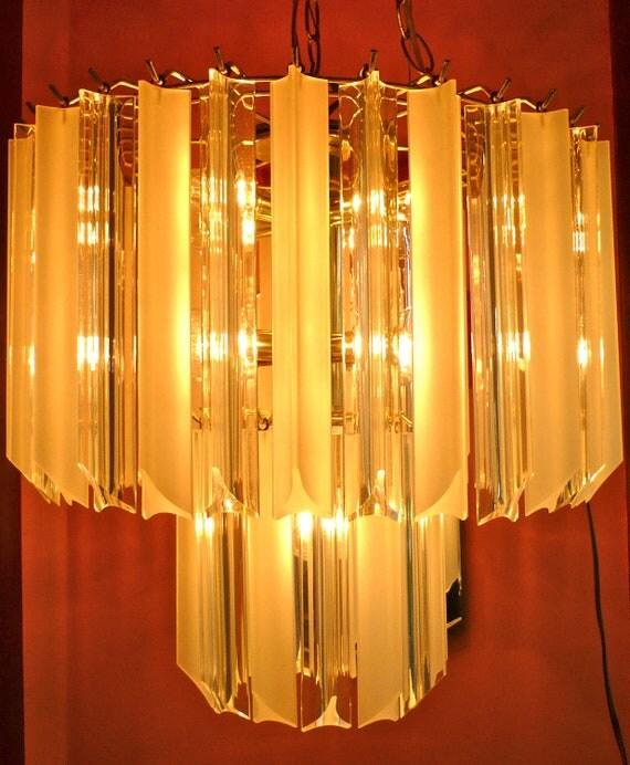 Vintage Lucite Prism and Brass Chandelier Hollywood Regency
