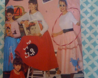 Butterick Pattern 4286 Misses 50s Style Halloween Costume Top and Skirt Size XS, S, M, L