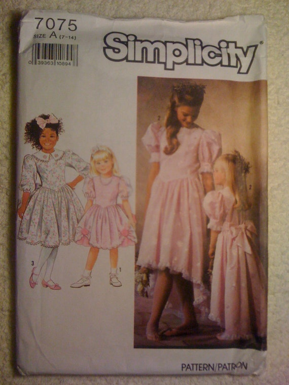 Simplicity 90s Sewing Pattern 7075 Girls Dresses In Two Lengths with Trim Variations Size 7-14 Sale