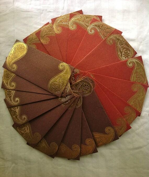 10 Pcs. Gold Paisley Motif Envelopes for party, return gifts