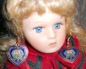 Cloisonne Earrings,Heart Earrings,Pierced Cloisonne, VINTAGE Earrings, Enamel Rose, French Hook, Kathleen Leasure, FromGlenToGlen