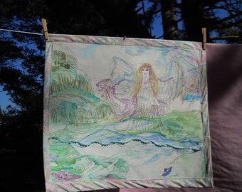 """Ocean Angel Watercolor, Sewn Watercolor, Angel Art, Wall Hanging, Fiber Art, 23 1/2"""" w x 21"""" h, Kathleen Leasure, FromGlenToGlen"""