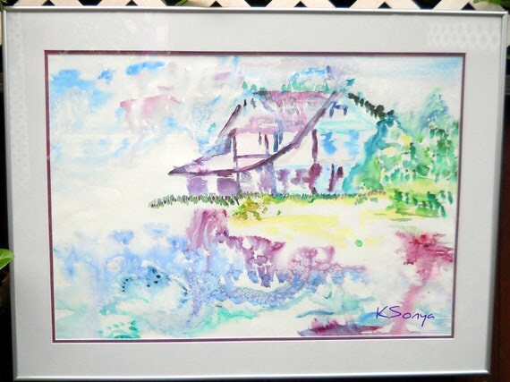 Ocean Home Art, Heceta Lighthouse Keeper's House, Ocean Watercolor, OOAK, Pacific Northwest Art, Home Dec, Kathleen Leasure, FromGlenToGlen