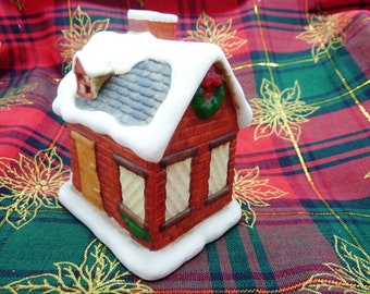 Ceramic Hand Painted Christmas Village Candle House