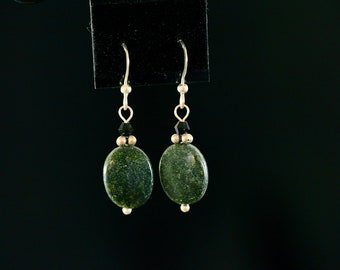 Green Magnesite and Black Crystal Drop Earrings