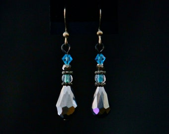 Silver Crystal Teardrop Earrings