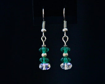 Green and White Stacked Drop Earrings