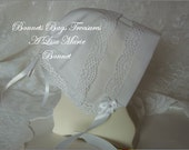 Heirloom Baby Bonnet WHITE with Shell lace great gift for baby showers Christening and Dedications or just to wear - Magic hanky bonnet