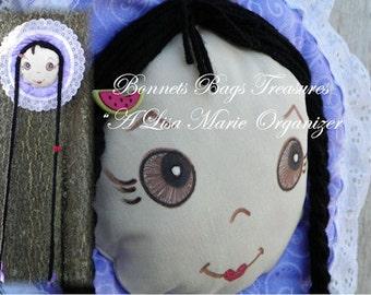 Barrette Holder with Brown Eyes long black braids watermelon accent Purple Bonnet with faint silver sparkles and swirls Lace trim