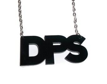 Black DPS Necklace, Laser Cut Pendant, Damage Per Second, MMORPG