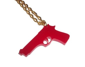 Red Gun Necklace, Gold Chain Laser Cut Acrylic Pistol Pendant